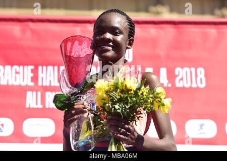 Prague, Czech Republic. 07th Apr, 2018. Kenyan runner Joan Melly celebrates his win of the Prague Half Marathon in Prague, Czech Republic, on April 7, 2018. Credit: Roman Vondrous/CTK Photo/Alamy Live News - Stock Photo
