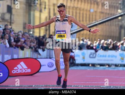 Prague, Czech Republic. 07th Apr, 2018. Czech runner Jiri Homolac is seen during the Prague Half Marathon in Prague, Czech Republic, on April 7, 2018. Credit: Roman Vondrous/CTK Photo/Alamy Live News - Stock Photo