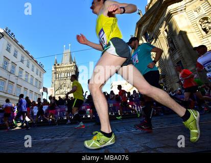 Prague, Czech Republic. 07th Apr, 2018. Runners are seen on the race during the Prague Half Marathon in Prague, Czech Republic, on April 7, 2018. Credit: Roman Vondrous/CTK Photo/Alamy Live News - Stock Photo