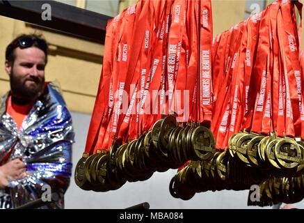Prague, Czech Republic. 07th Apr, 2018. Medals for runners of the Prague Half Marathon in Prague, Czech Republic, on April 7, 2018. Credit: Roman Vondrous/CTK Photo/Alamy Live News - Stock Photo