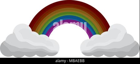 cloud weather climate with rainbow - Stock Photo