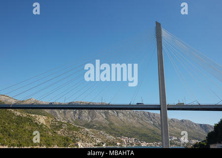 Modern Franzo Tudjman's cable-stayed bridge in Dubrovnik, Croatia. - Stock Photo