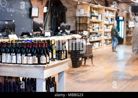 New York City, USA - October 30, 2017: Market food shop interior inside in downtown lower Chelsea neighborhood district Manhattan NYC, Wine Vault alco - Stock Photo