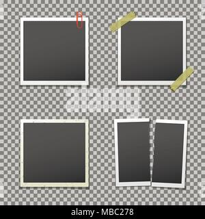 Photo frames with shadow on isolated background, vector template. - Stock Photo