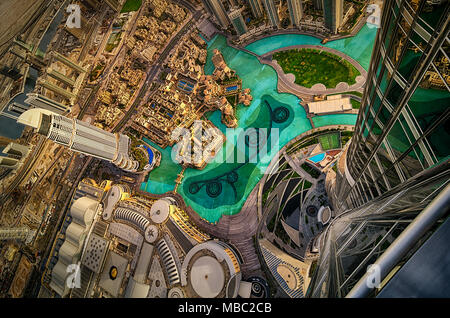 Dubai downtown aerial view by sunset, Dubai, United Arab Emirates - Stock Photo