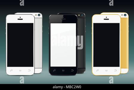 New realistic mobile phones mockups front and back with blank screen isolated. Vector illustration. - Stock Photo
