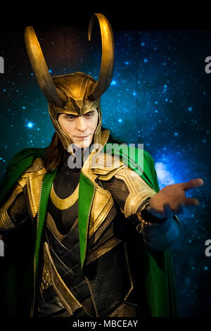 Wax figure of Loki fictional character from American comic books in Madame Tussauds Wax museum in Amsterdam, Netherlands - Stock Photo