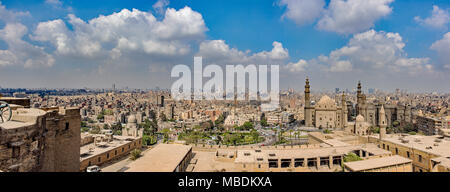 Cairo skyline from the Alabaster Mosque - Mosque of Muhammad Ali - Photo taken as a series and then stitched as a panorama. - Stock Photo