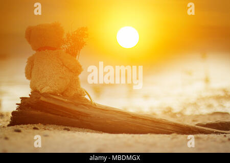Teddy bear on the Timber in the morning . - Stock Photo