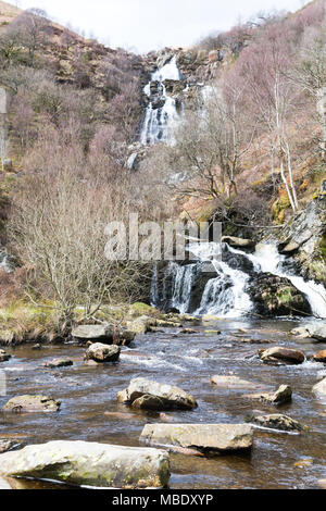 Rhiwargor waterfall in Powys, Wales, above Lake Vyrnwy - Stock Photo