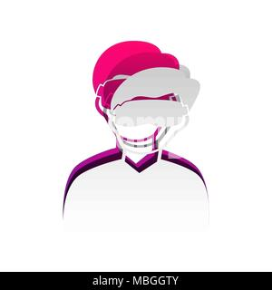 Man with sleeping mask sign. Vector. Detachable paper with shadow at underlying layer with magenta-violet background. - Stock Photo