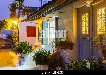 Houses in Anafiotika neighborhood of Athens in Greece. - Stock Photo
