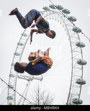 London, UK. 10th April 2018. Launch performance of Circus Abyssinia: Ethiopian Dream. The headline act of the Underbelly Festival Southbank to celebrate 250 years of circus and 10 years of Underbelly on the Southbank. Credit: Guy Corbishley/Alamy Live News - Stock Photo