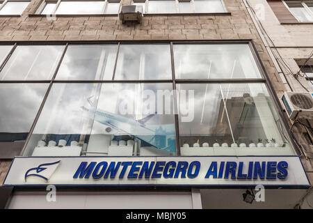 BELGRADE, SERBIA - MARCH 31, 2018: Montenegro Airlines logo on their main office for Serbia. Montenegro Airlines is the national air carrier of Monten - Stock Photo