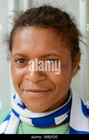 Portrait of a young woman, Tari Valley, Papua New Guinea - Stock Photo