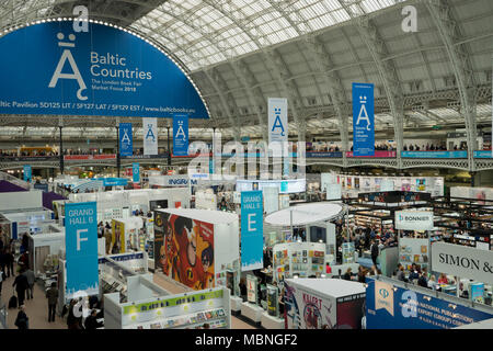 London,UK.10th April 2018. Exhibitors and visitors at the London Book Fair 2018 at the Olympia Exhibition Centre. London. - Stock Photo