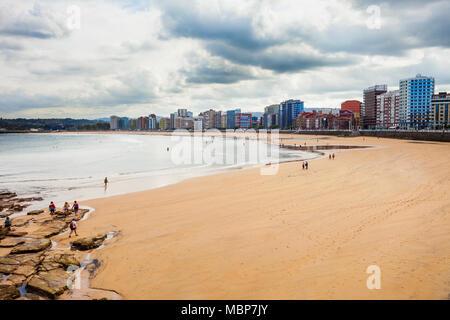 Gijon beach aerial view in the centre of Gijon city in Asturias, Spain - Stock Photo