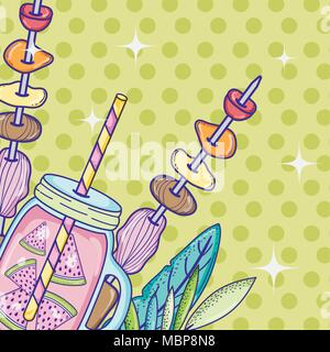 Summer time juice cartoon - Stock Photo