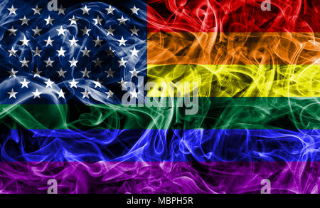 USA gay  smoke flag, LGBT USA flag - Stock Photo