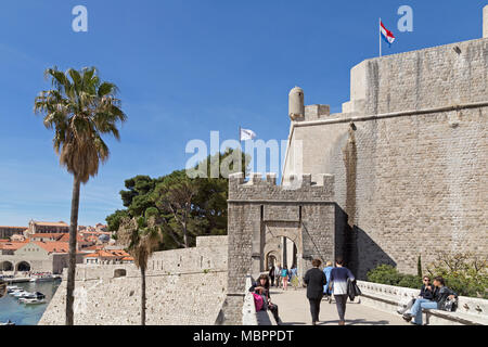 Ploce Gate, town wall, old town, Dubrovnik, Croatia - Stock Photo