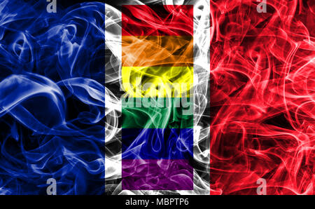 France Gay smoke flag, LGBT France flag - Stock Photo