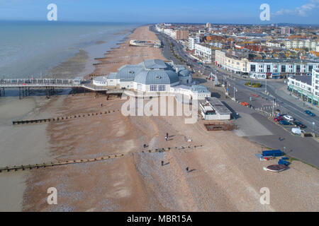 aerial views of worthing pier and beach taken by drone on the sussex coast - Stock Photo