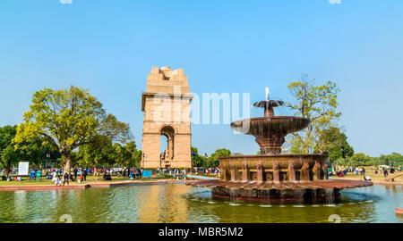 Fountain near the India Gate, a war memorial in New Delhi, India - Stock Photo