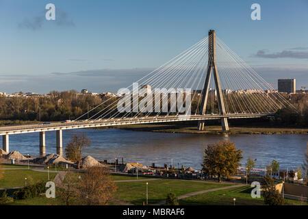 Świętokrzyski Bridge or Holy Cross Bridge, Most Świętokrzyski, over the Vistula, cable-stayed bridge, Warsaw, Poland - Stock Photo