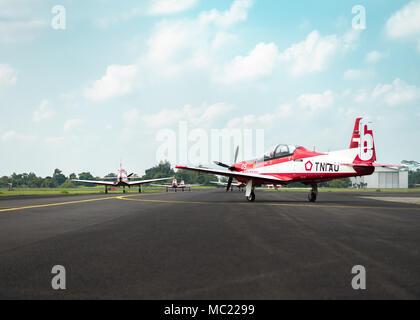 Jupiter Aerobatic Team Aircraft Leaving Hangar Taxiway Before Take Off During Indonesia Air Force Ceremonial, Halim Perdana Kusuma Airport - Stock Photo
