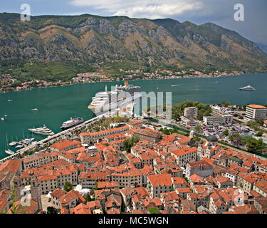 Cruise ship anchored at Kotor on the Adriatic coast of Montenegro - Stock Photo