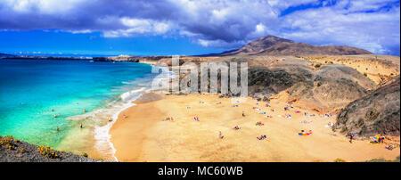 Beautiful Papagayo beach,panoramic view,Lanzarote island,Canary,Spain. - Stock Photo