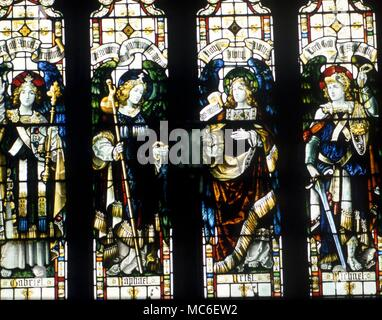 ANGELS - The four archangels, Michael, Raphael, Gabriel and Uriel, in the stained glass window of St James Church, Kilkhampton - Stock Photo