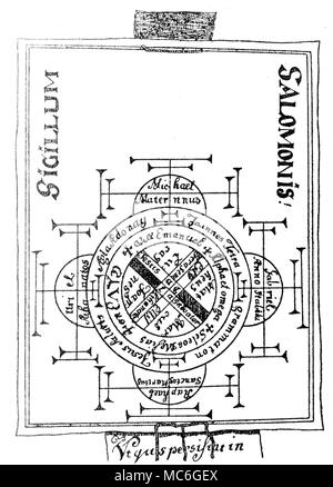 GRIMOIRES - SEAL OF SOLOMON A magical design of the 16th century.  Although entitled Seal of Solomon (Sigillum Salomonis), it is really a play on the number 4, with the names of the four archangels of space in the outer arcs of the figure (From the top, reading in a clockwise direction, these are Raphael, Uriel, Michael and Gabriel.  Within the spaces of the internal cross, are the names of the four Evangelists:  Marcus, Joannes, Lucas and Matheus. - Stock Photo