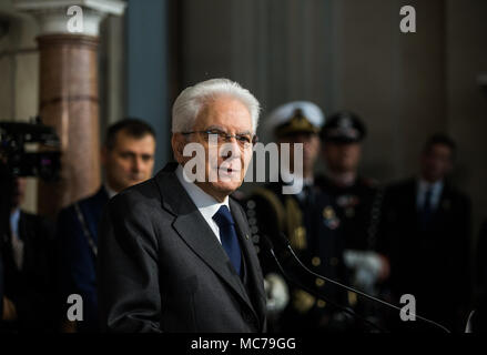Rome, Italy. 13th Apr, 2018. Italian President Sergio Mattarella speaks to the media at the end of the second day of consultations at the Quirinale Palace in Rome, capital of Italy, on April 13, 2018. The second round of talks to form a national government has failed to produce a workable majority, Italian President Sergio Mattarella told the country in a live statement on Friday. Credit: Jin Yu/Xinhua/Alamy Live News - Stock Photo