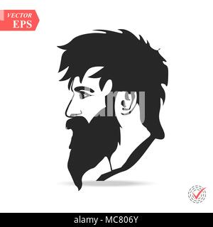Man with beard variations silhouette. Fashion silhouette hipster style, eps - Stock Photo