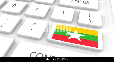 Myanmar Racing to the Future with Man Holding Flag - Stock Photo