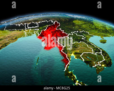 Morning above Myanmar highlighted in red on model of planet Earth in space with visible border lines and city lights. 3D illustration. Elements of thi - Stock Photo