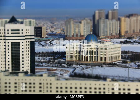 Presidential Palace in Nur-Sultan, Kazakhstan, at -24 degrees Celsius - Stock Photo