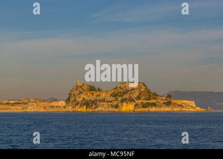 old venetian fortress corfu in morning light, view from sea - Stock Photo