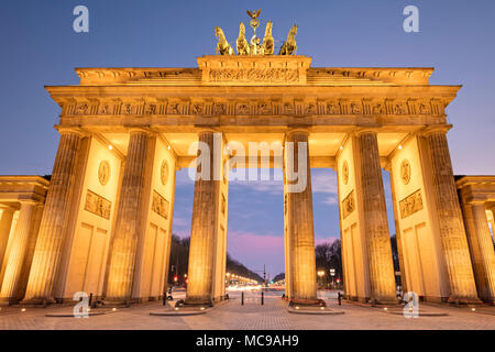 The Brandenburg Gate is an 18th-century neoclassical landmark monument situated to the west of Pariser Platz in the western part of Berlin. - Stock Photo
