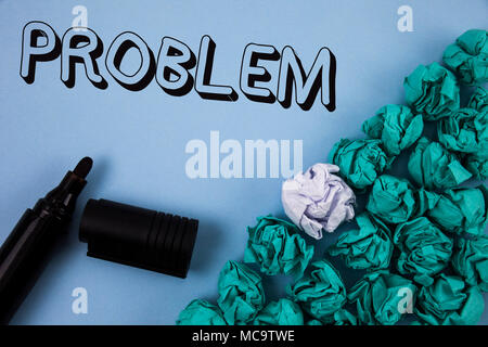 Handwriting text Problem. Concept meaning Trouble that need to be solved Difficult Situation Complication written Plain Blue background Crumpled Paper - Stock Photo