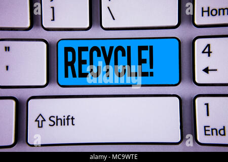 Conceptual hand writing showing Recycle Motivational Call. Business photo showcasing Convderting waste into reusable material written Key Button Keybo - Stock Photo