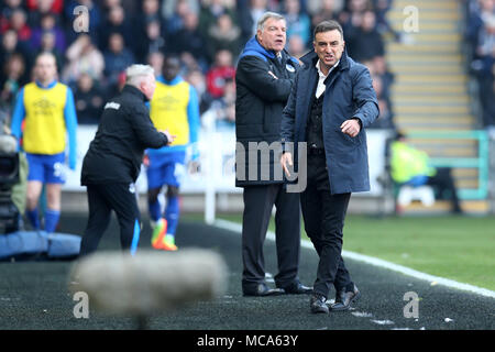 South Wales, UK, 14 April 2018. Carlos Carvalhal, the manager of Swansea city reacts on the touchline. Premier League match, Swansea city v Everton at the Liberty Stadium in Swansea, South Wales on Saturday 14th April 2018.  this image may only be used for Editorial purposes. Editorial use only, license required for commercial use. No use in betting, games or a single club/league/player publications. pic by Andrew Orchard/Andrew Orchard sports photography/Alamy Live news - Stock Photo