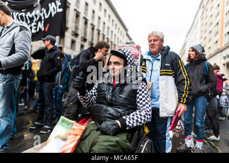 Berlin, Germany, 14 April 2018. Hans-Georg HG Lindenau during the demonstration under the motto 'resist rental madness'. More than 13,000 people demonstrated against 'repression and rent madness' in the capital. Credit: SOPA Images Limited/Alamy Live News - Stock Photo