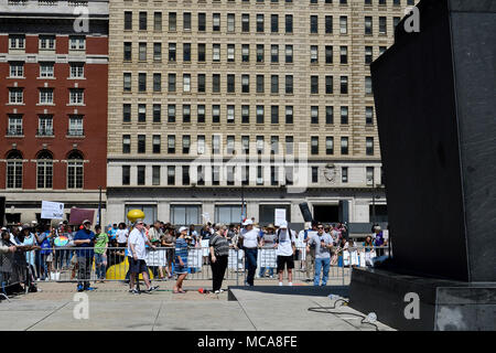 Philadelphia, USA 14th April 2018 To commemorate 'Earth day' a few dozen protestors rally ahead of a March for Science, at Thomas Paine Plaza, near City Hall in Philadelphia, PA for small protests, on April 14, 2018. Credit: Bastiaan Slabbers/Alamy Live News - Stock Photo