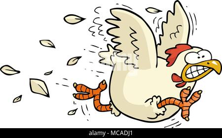 Cartoon doodle running chicken on a white background vector illustration - Stock Photo