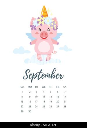 Vector cartoon style illustration of September 2019 year calendar page with pig with wings and unicorn horn standing on the cloud. Template for print. - Stock Photo