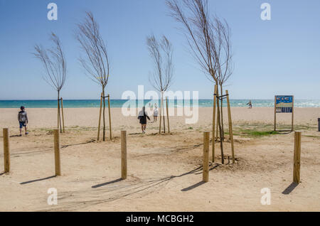 A view of an empty beach at Santa Susanna in Spain. - Stock Photo