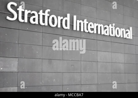 Entrance to Stratford International train station adjacent to Westfield Stratford City Shopping Centre. - Stock Photo