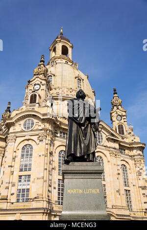 Statue of Martin Luther in front of Frauenkirche, Dresden, Germany - Stock Photo